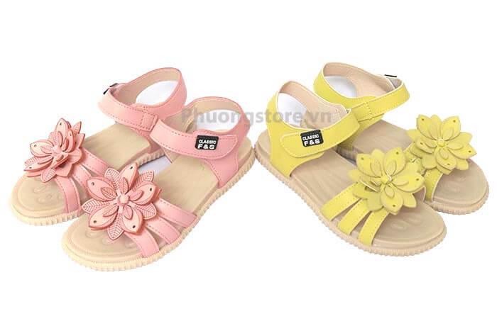 Giày trẻ em nữ kiểu sandal nơ hoa bé gái 2, 3 tuổi đến 10, 11, 12 tuổi