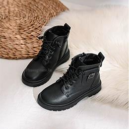 Giày bé trai, bé gái kiểu boot cá tính màu đen từ 3-12 tuổi