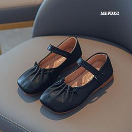 Giày búp bê bé gái màu đen từ 1-10 tuổi da mềm đế dẻo