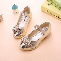 Giày búp bê trẻ em cao gót công chúa, quai dán cho bé gái 3 - 9 tuổi