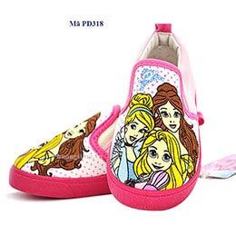 Giày lười nhập khẩu họa tiết công chúa cực dễ thương cho bé gái từ 2 - 5 tuổi