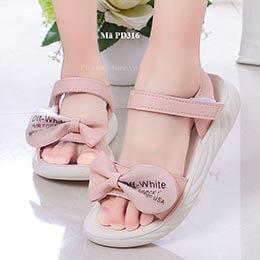 Giày sandal nữ đi học dễ thương màu hồng nhập khẩu từ 4 - 12 tuổi