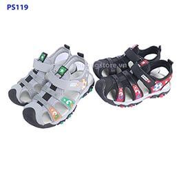 Giày sandal rọ trẻ em nam đen, xám quai dán đi học từ 3 - 12 tuổi