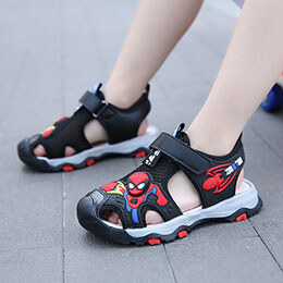 Giày sandal siêu nhân trẻ em nam mềm êm màu đen từ 3 - 12 tuổi