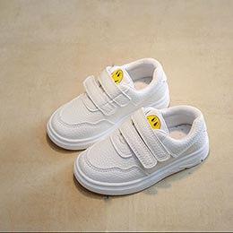 Giày thể thao trẻ em dành cho bé gái từ 3 - 12 tuổi quai dán mặt cười