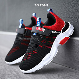 Giày thể thao trẻ em nam màu đen đỏ năng động, cá tính từ 3 - 12 tuổi