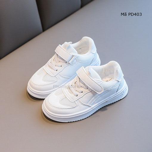 Giày thể thao bé trai 8 tuổi màu trắng mềm êm