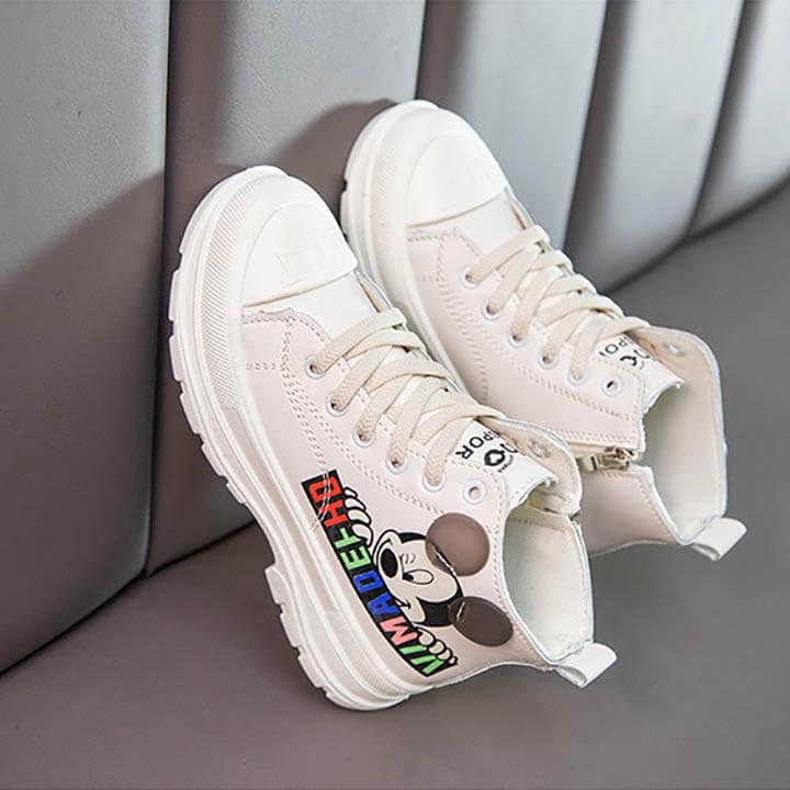 Giày boot thể thao cho bé gái Mickey màu trắng phong cách