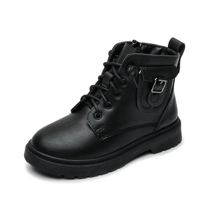 Giày boot cho bé gái, bé trai cá tính màu đen từ 3-12 tuổi