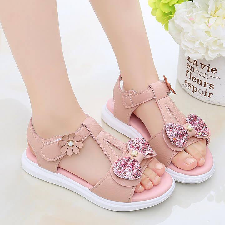 Giày sandal cho bé gái từ 2-12 tuổi da mềm dễ thương