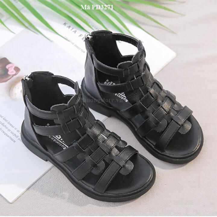 Giày sandal chiến binh cho bé gái da mềm màu đen từ 3 - 12 tuổi