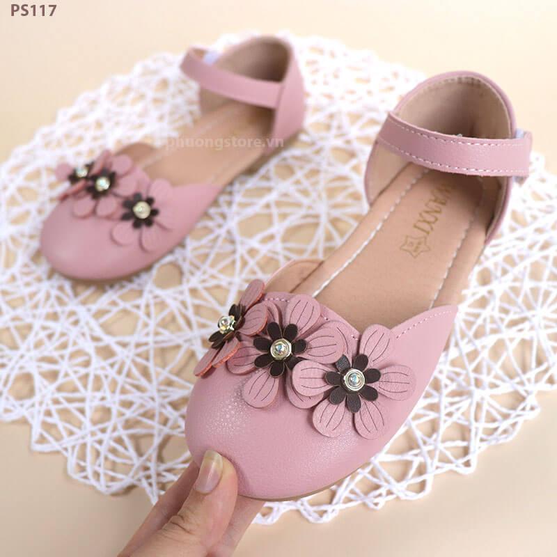 Giày búp bê trẻ em gái đính nơ hoa cực nữ tính cho bé từ 1 - 12 tuổi