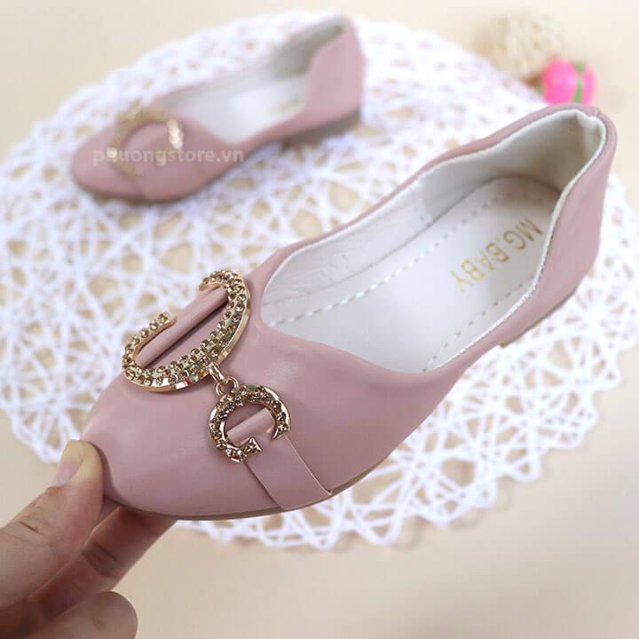 Giày búp bê cho bé gái cực sang chảnh màu hồng nhạt từ 2 - 10 tuổi