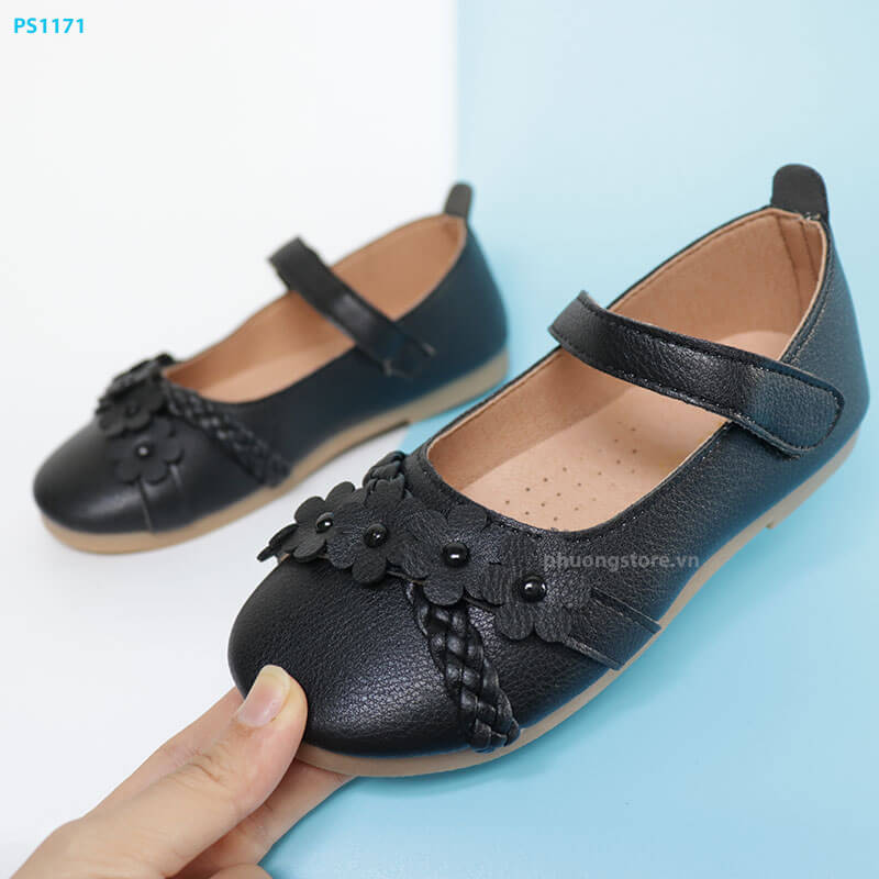 Giày búp bê bé gái từ 3 - 7 tuổi màu đen có quai dán đi học, đi chơi