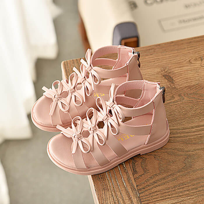 Giày sandal chiến binh nơ cho bé gái từ 3 - 12 tuổi cực nữ tính