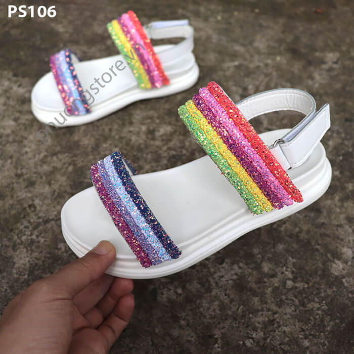 Giày cho bé gái từ 3 - 12 tuổi kiểu sandal quai dán bảy sắc cầu vồng