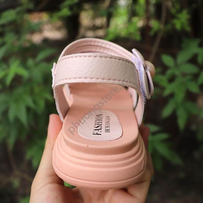 Dép sandal cho bé gái từ 3 - 7 tuổi đơn giản, cao cấp màu hồng nhạt