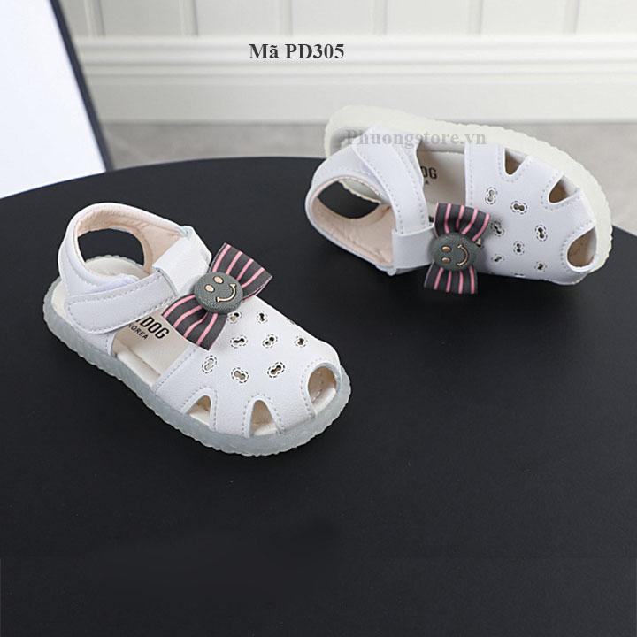 Giày sandal cho bé gái đế mềm màu trắng từ 1 - 2- 3 tuổi