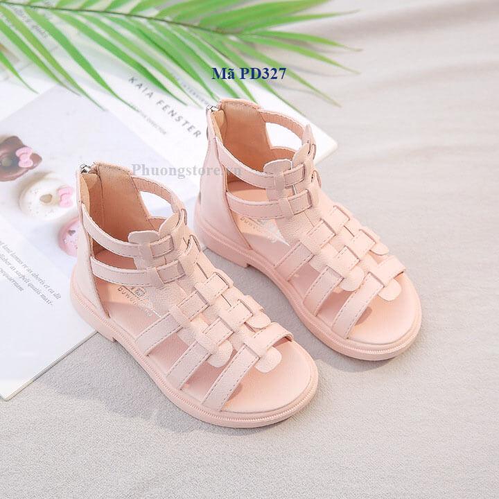 Giày sandal cho bé gái kiểu chiến binh da mềm từ 3 - 12 tuổi