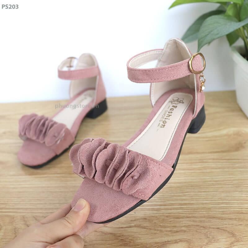 Giày sandal cao gót nữ đi học tuổi từ  3 -12 quai dán