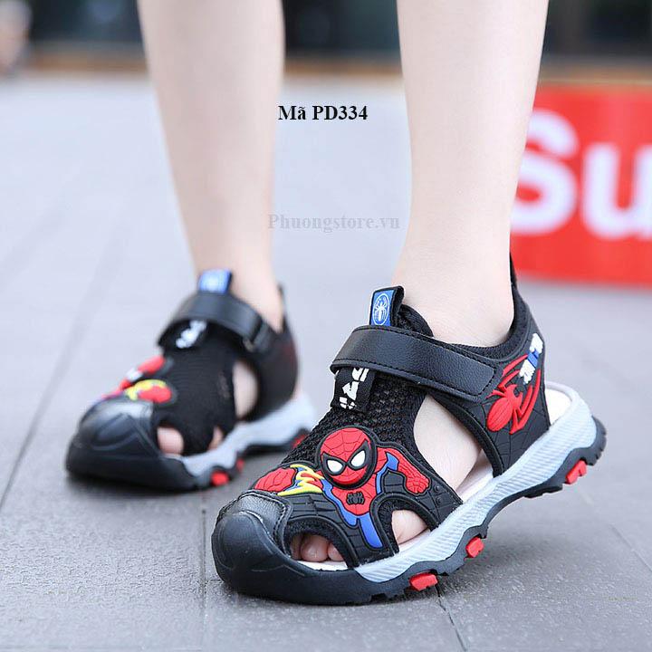 Giày sandal siêu nhân bé trai mềm êm màu đen từ 3 - 12 tuổi
