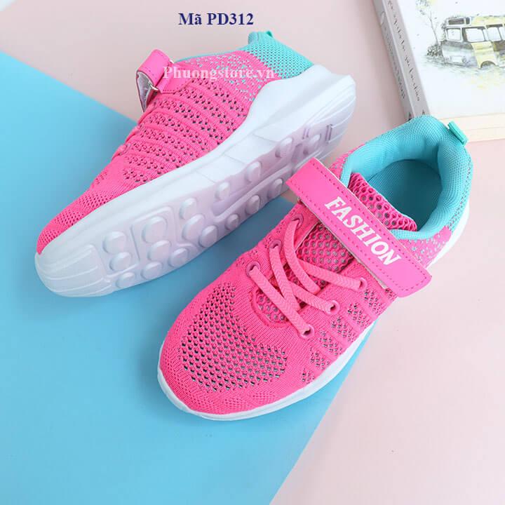 Giày thể thao cho bé gái năng động màu hồng từ 3 - 12 tuổi