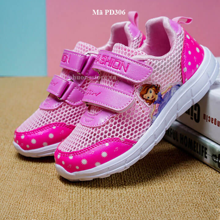 Giày thể thao công chúa màu hồng cho bé gái từ 3 - 12 tuổi