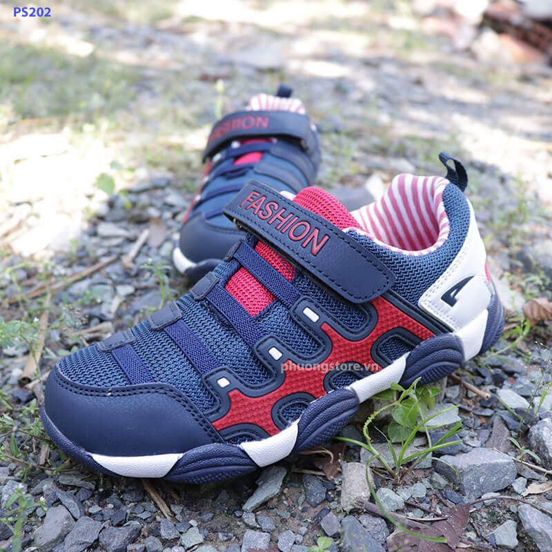 Giày thể thao trẻ em dành cho bé trai từ 5 - 12 tuổi đỏ xanh cao cấp