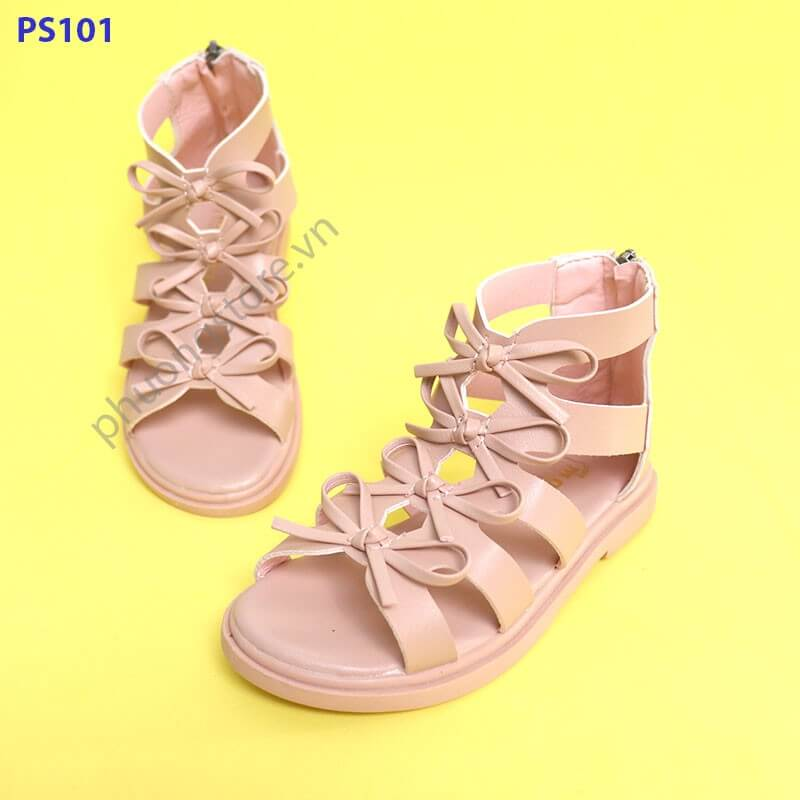 Giày sandal chiến binh nơ cho bé gái từ 3 - 7 tuổi cực nữ tính