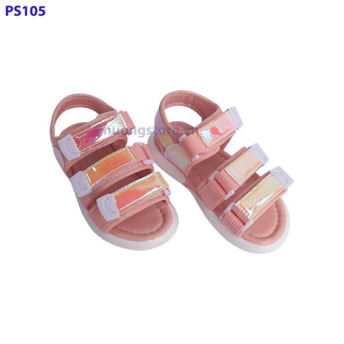 Giày sandal trẻ em nữ quai dán đi học lấp lánh cho bé từ 3 - 7 tuổi